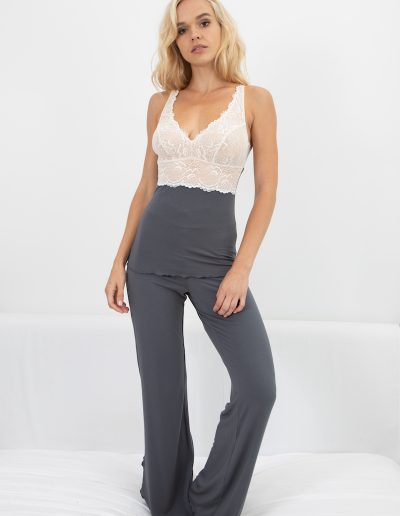 home builtup cami & lace waist pant in slate w ivory lace-1