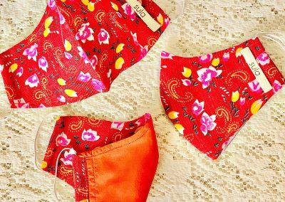 Sula Red Floral Silk Masks