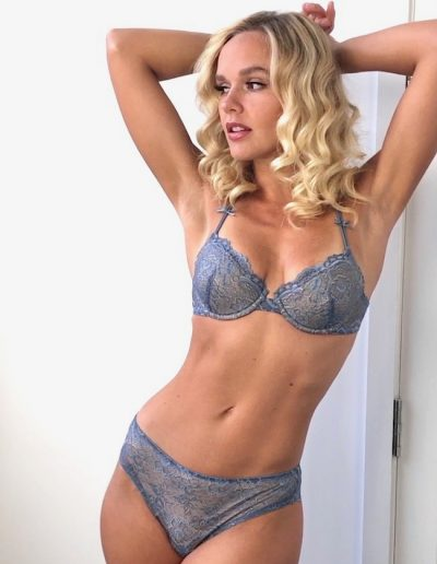 all lace classic T back bra in Mineral Blue