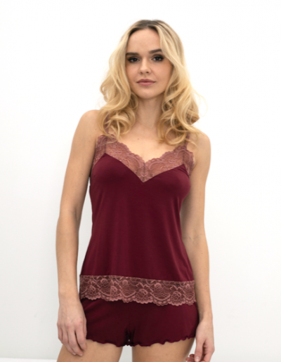 HOME cami + shortie in maroon w tea rose lace